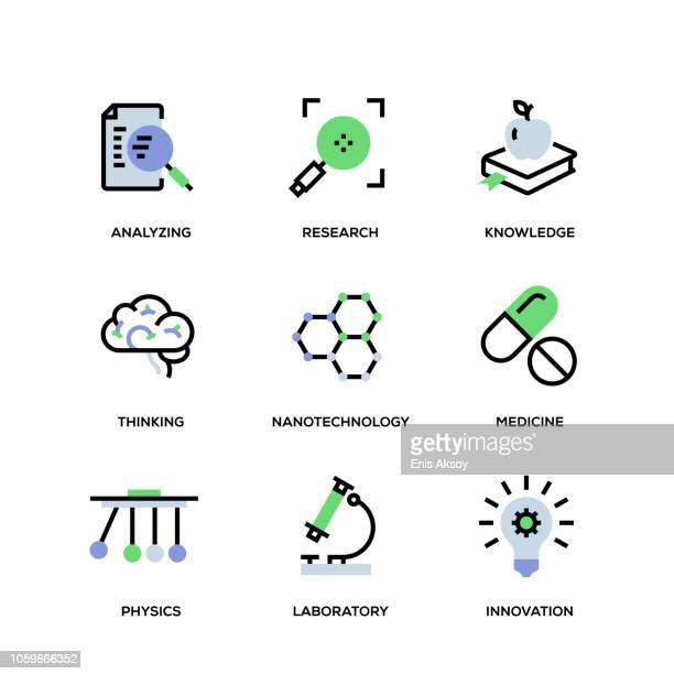 science line icon set - genetic modification stock illustrations, clip art, cartoons, & icons