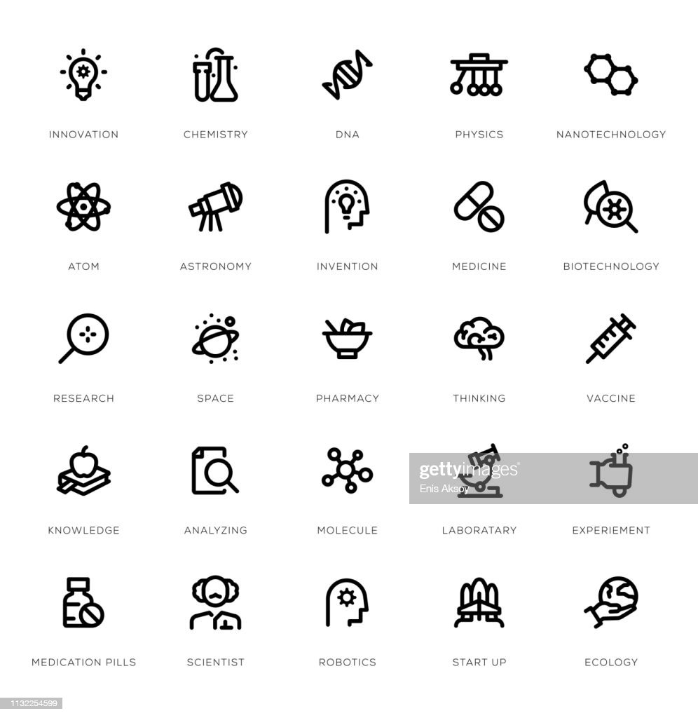 Science Line Icon Set : stock illustration