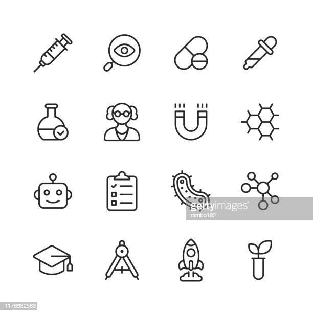 wissenschaft linie icons. bearbeitbarer strich. pixel perfekt. für mobile und web. enthält symboleweise planet, astronomie, maschinelles lernen, künstliche intelligenz, chemie, biologie, medizin, bildung, wissenschaftler. - nanotechnologie stock-grafiken, -clipart, -cartoons und -symbole
