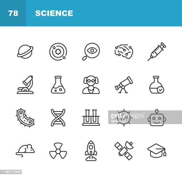 science line icons. editable stroke. pixel perfect. for mobile and web. contains such icons as planet, astronomy, machine learning, artificial intelligence, chemistry, biology, medicine, education, scientist, nuclear energy, robot, flask. - laboratory flask stock illustrations