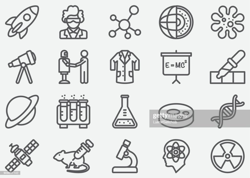 Science lijn pictogrammen : Stockillustraties