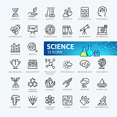 Science - minimal outline icons collection