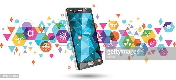 科学に携帯 - 電子点のイラスト素材/クリップアート素材/マンガ素材/アイコン素材