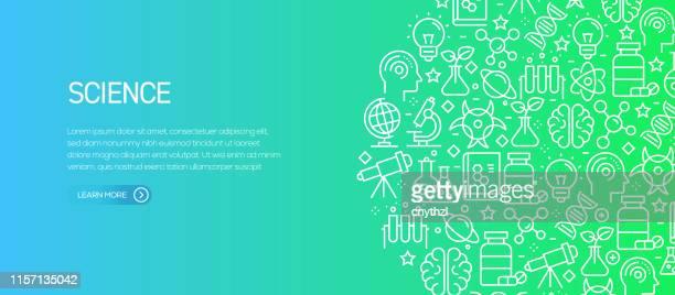 ilustrações de stock, clip art, desenhos animados e ícones de science related banner template with line icons. modern vector illustration for advertisement, header, website. - optical art