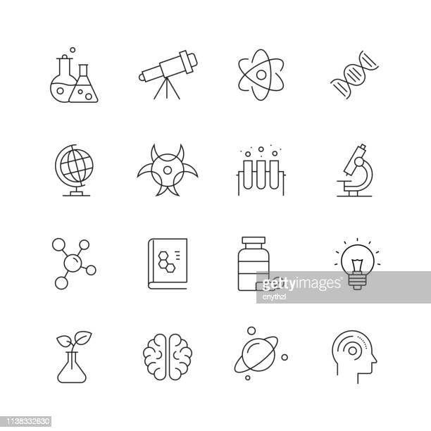 science related - set of thin line vector icons - atom stock illustrations