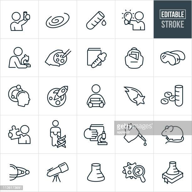 science research thin line icons - editable stroke - microbiology stock illustrations
