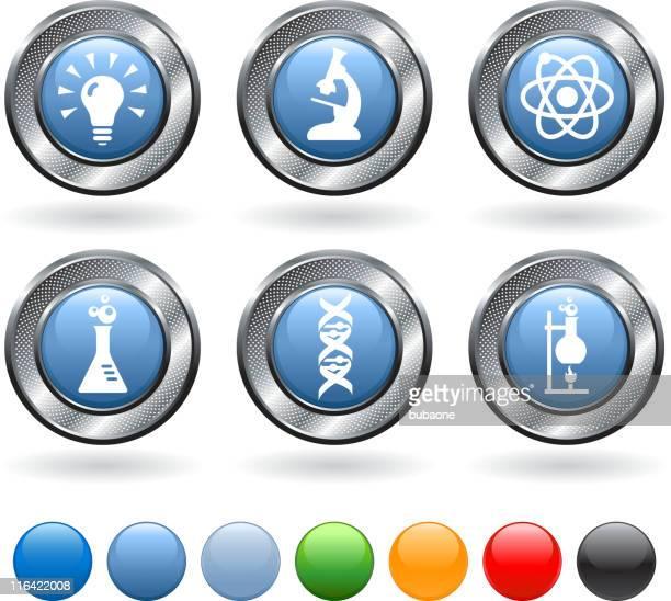 Wissenschaft lizenzfreie vektor icon-set mit metallic-Knöpfen
