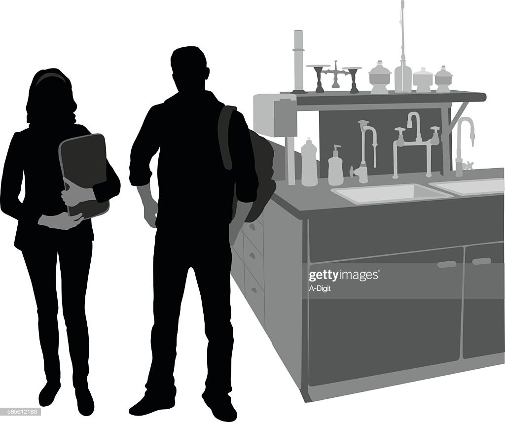 Science Students In The Lab : stock illustration