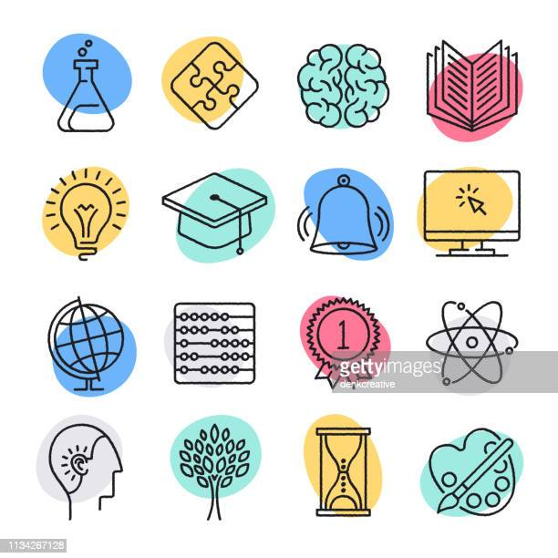 science teaching & reasoning doodle style vector icon set - ideas stock illustrations