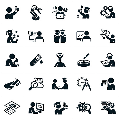 Science, Technology, Engineering and Mathematics Icons - gettyimageskorea