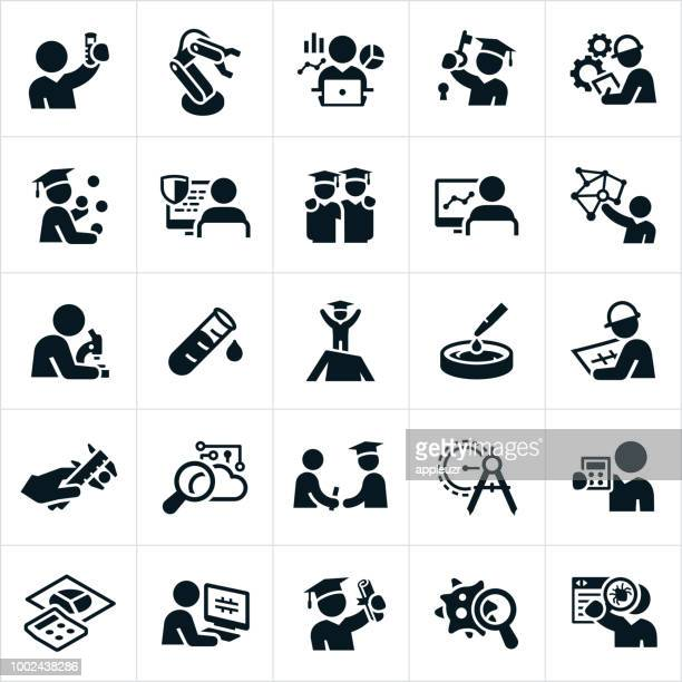 science, technology, engineering and mathematics icons - engineer stock illustrations
