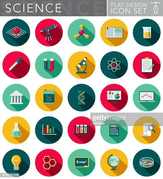 Science & Technology Flat Design Icon Set with Side Shadow