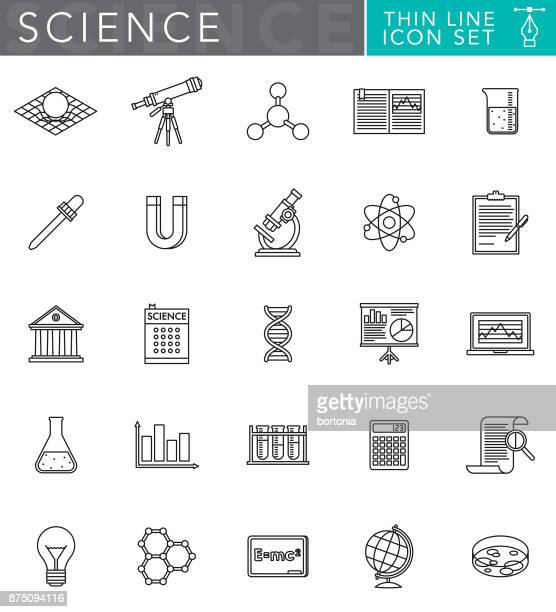 science & technology thin line icon set in flat design style - potion stock illustrations