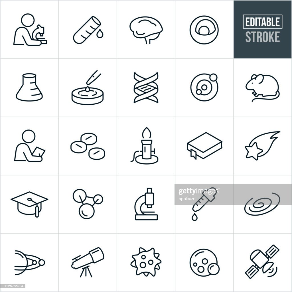 Science Thin Line Icons Editable Stroke stock illustration