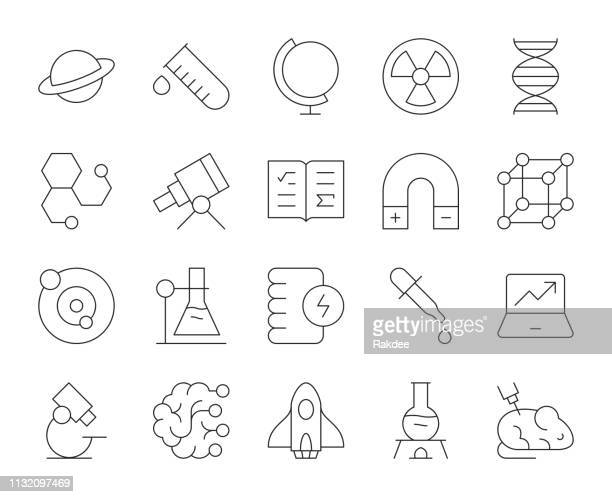 science - thin line icons - stem topic stock illustrations