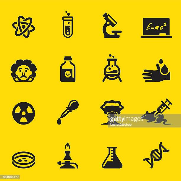 science yellow silhouette icons - physicist stock illustrations, clip art, cartoons, & icons