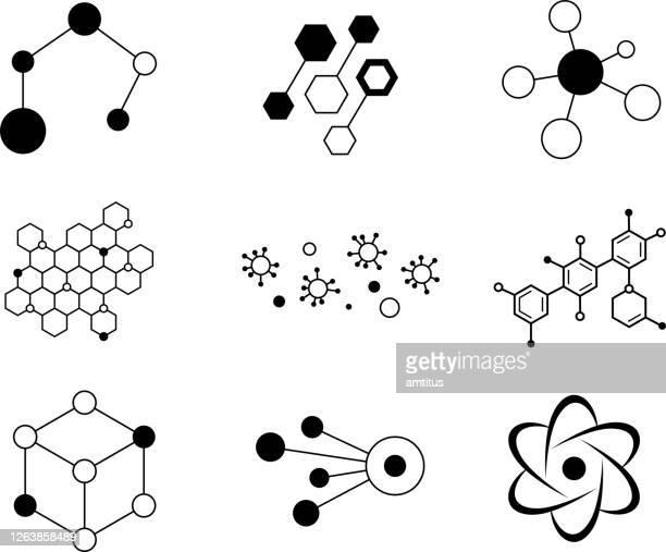 illustrazioni stock, clip art, cartoni animati e icone di tendenza di elementi atomici scientifici - molecola