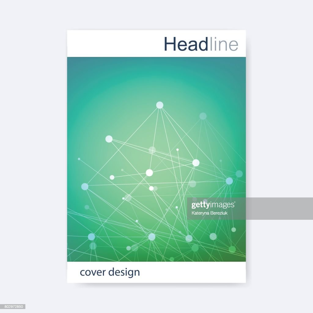 Scientific brochure design template vector flyer layout molecular scientific brochure design template vector flyer layout molecular structure with connected lines and dots ccuart Images