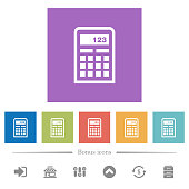 Scientific calculator flat white icons in square backgrounds