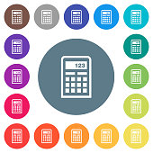 Scientific calculator flat white icons on round color backgrounds