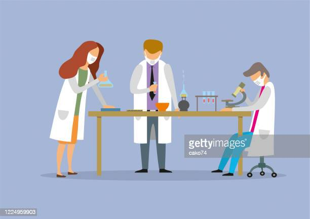 scientific research in chemical laboratory - laboratory flask stock illustrations