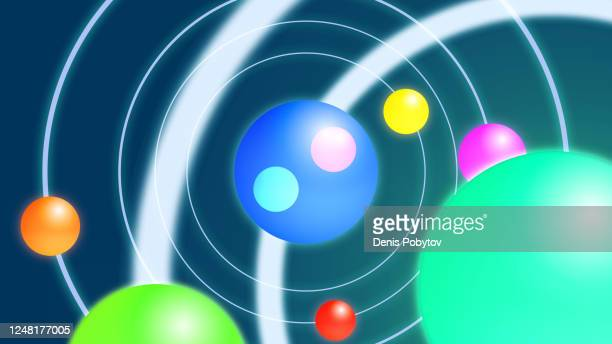 scientific vector 3d illustration - the structure of atoms and particles in the macrocosm. - quantum physics stock illustrations