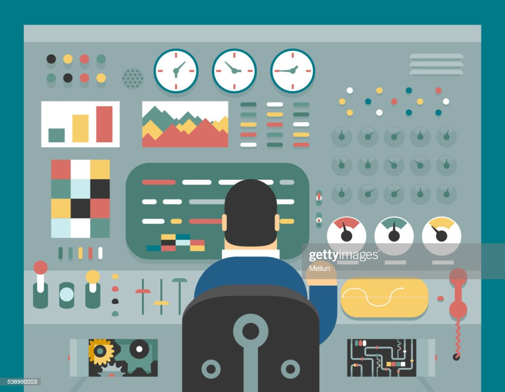 Scientist businessman work in front of control panel analysis production