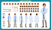 Scientist character creation set. Man working in science laboratory at experiments. Full length, different views, emotions, gestures. Build your own design.
