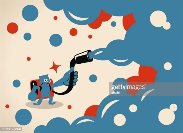 illustrations, cliparts, dessins animés et icônes de scientifique (biochimiste) désinfecte pour se protéger contre le coronavirus (covide-19, bactérie, virus) ou décontamine un environnement radioactif ou pulvérise avec de l'insecticide - zoonotic diseases