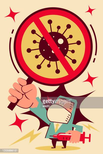 scientist (doctor, biochemist) gets a vaccine against the new virus and coronavirus (to prevent flu) and holds a holding a prohibition sign - stop gesture stock illustrations