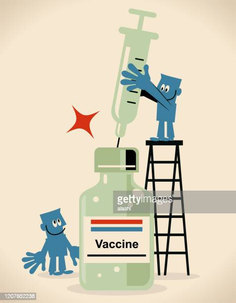 scientist (doctor, biochemist, drug developer) holding a big syringe, concept about a vaccine for new virus and coronavirus - avian flu virus stock illustrations