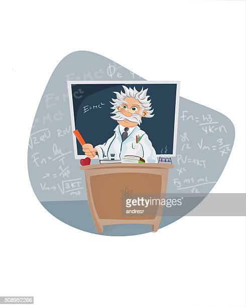 scientist in a classroom - physicist stock illustrations, clip art, cartoons, & icons