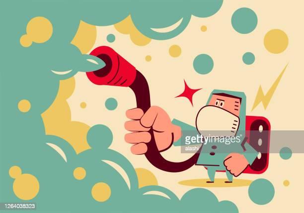 illustrations, cliparts, dessins animés et icônes de scientifique (biochimiste) dans les vêtements de protection biochimique désinfecte pour se protéger contre le coronavirus (covide-19, bactérie, virus) ou décontamine un environnement radioactif - zoonotic diseases