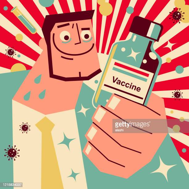 scientist (doctor, biochemist) makes new coronavirus vaccines (covid-19), the success of developing vaccines - viral shedding stock illustrations