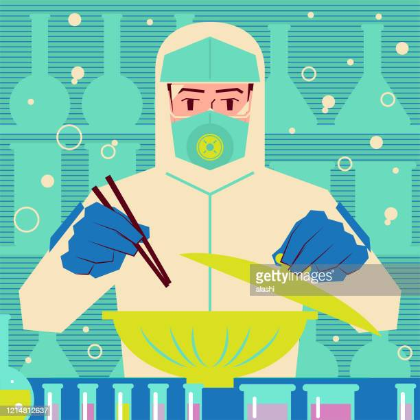 scientist or biochemist wearing protective clothing is opening the lid and ready to eat with chopsticks - environmental damage stock illustrations