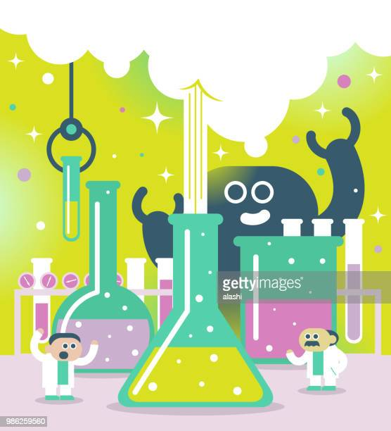 scientist or chemist at their work and bizarre monster - physicist stock illustrations, clip art, cartoons, & icons
