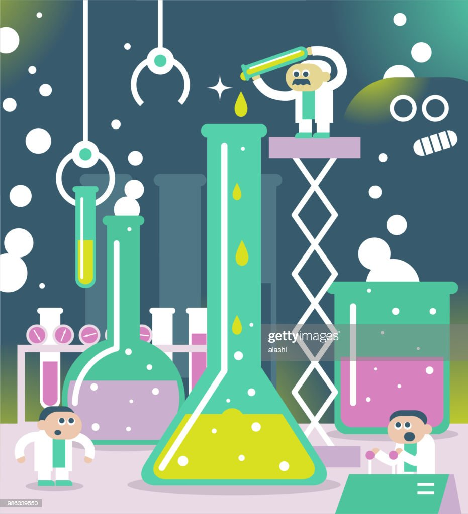Scientist or chemist team doing a scientific experiment and bizarre monster peeking at them : stock illustration