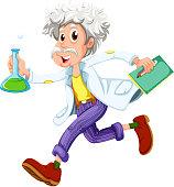 Scientist running hurriedly