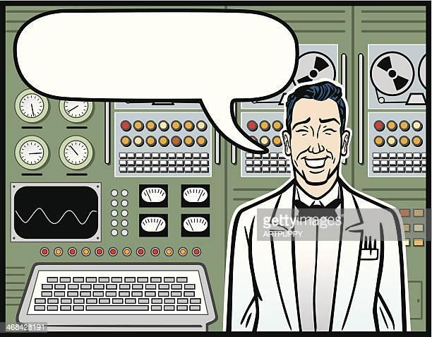 科学者の前でヴィンテージのコンピューター