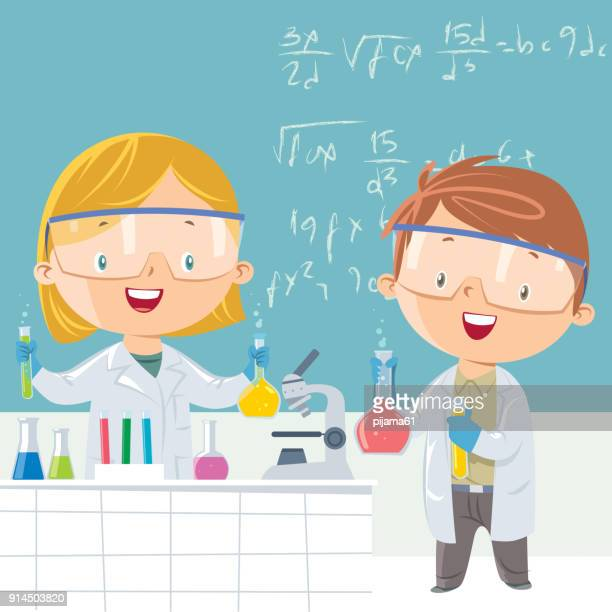 scientist student - school uniform stock illustrations, clip art, cartoons, & icons