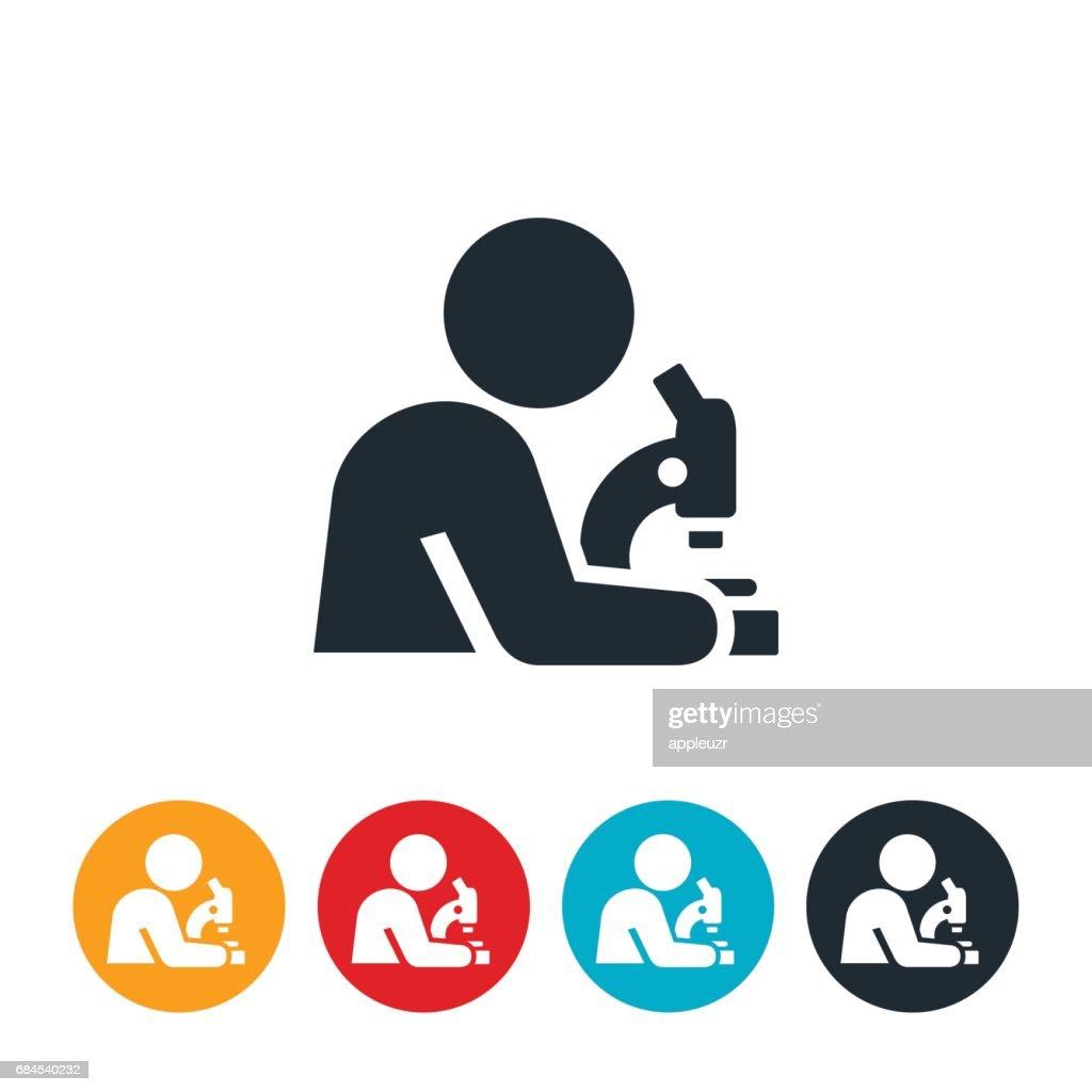Scientist Using Microscope Icon