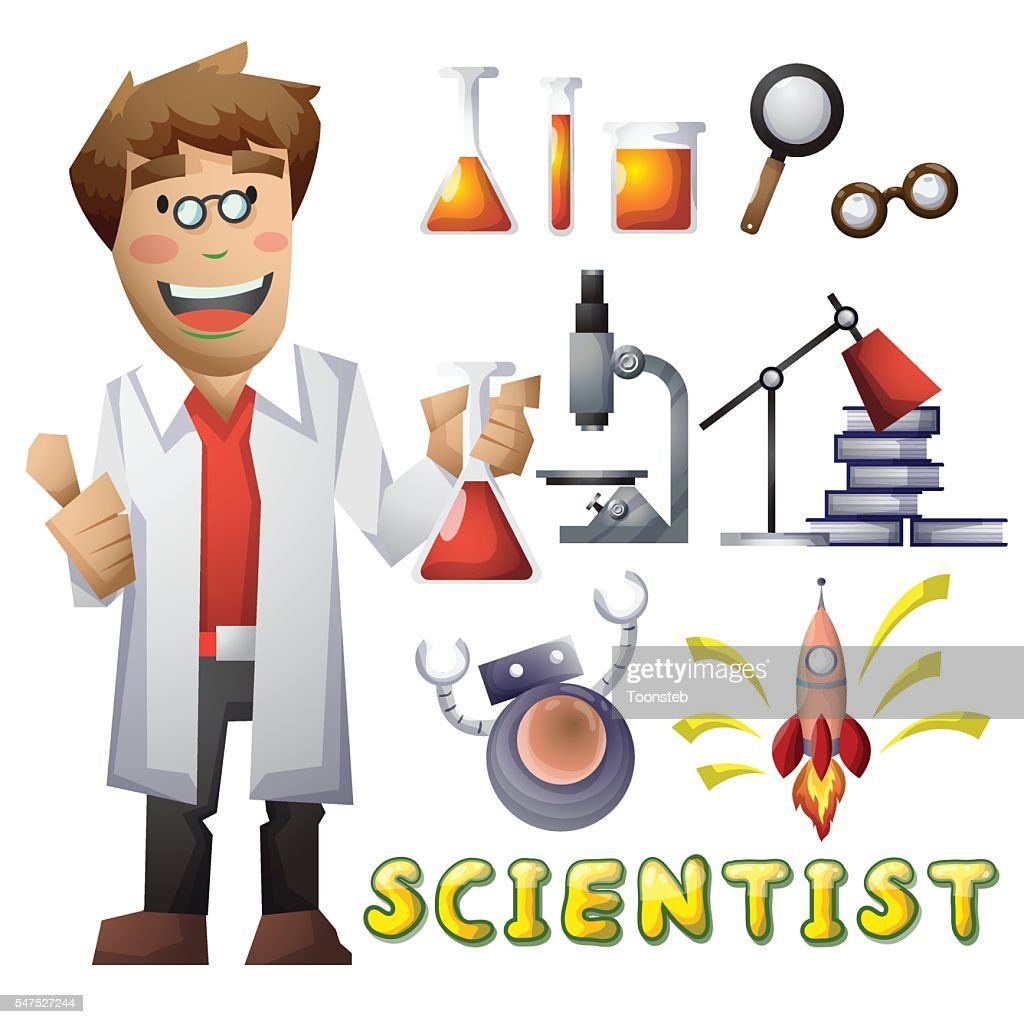 scientist vector cartoon with separated layers for game and animation high res vector graphic getty images 2