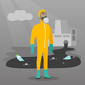 Scientist wearing radiation protection suit