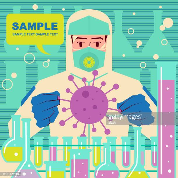 scientist (doctor, biochemist) who wears protective clothing catchs coronavirus (bacterium, virus), analyzing, examining and doing scientific experiment, biotech firms rush to make new coronavirus vaccines (2019-ncov) - scientific experiment stock illustrations