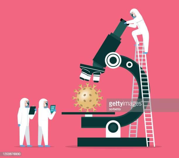 ilustraciones, imágenes clip art, dibujos animados e iconos de stock de científicos analizando - coronavirus - arma biológica
