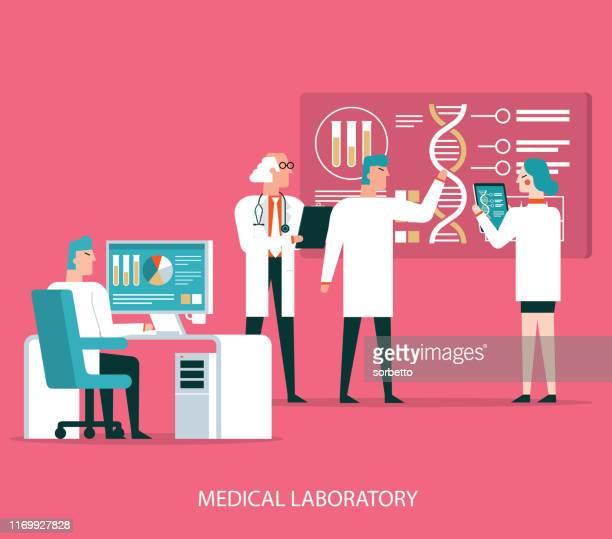 scientists analyzing medical data - biochemistry stock illustrations