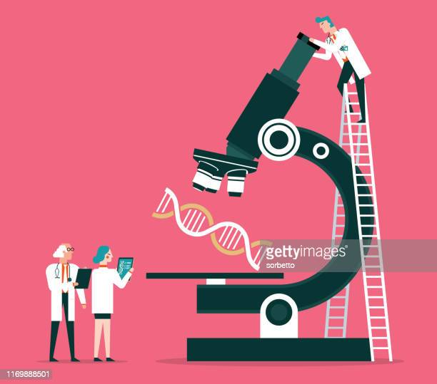 scientists analyzing the dna code stock - scientific experiment stock illustrations