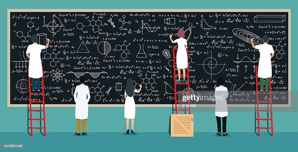 Scientists writing board