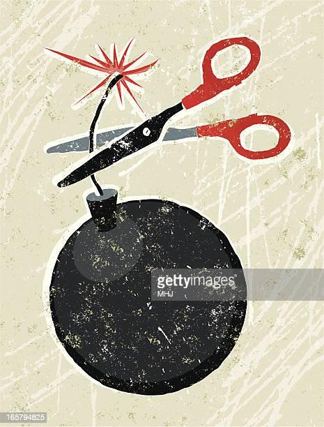 ilustraciones, imágenes clip art, dibujos animados e iconos de stock de tijeras y bomba - bomba