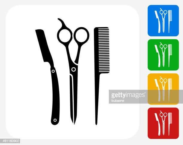 Schere und Bürste Symbol flache Grafik Design